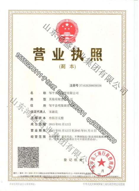 乐兴商贸分公司荣誉证书